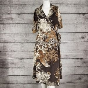 Elie Tahari True Wrap Dress 100% Silk Floral S